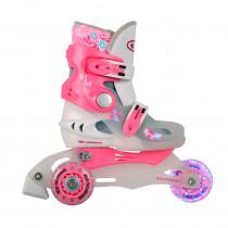 Dětské kolečkové brusle WORKER TriGo Skate LED - se sv. kolečky, růžová, XS (26-29)