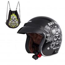 Moto přilba W-TEC Kustom Black Heart, Skull, černá lesk, XS (53-54)