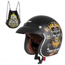 Moto přilba W-TEC Kustom Black Heart, Ride Culture, matně černá, XS (53-54)
