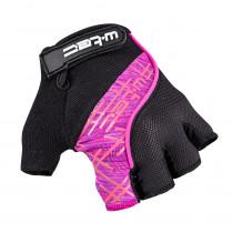 Cyklo rukavice W-TEC Karolea AMC-1022-18 (Barva černo-růžová, Velikost XS)