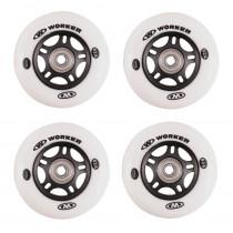 In-line kolečka WORKER 64mm a ložiska ABEC-5 chrome - Set 4 ks