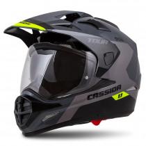 Moto přilba Cassida Tour 1.1 Spectre, šedá/světle šedá/žlutá fluo/černá, XS (53-54)
