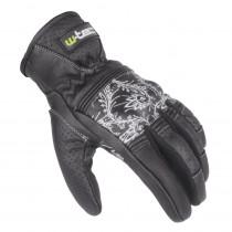 Dámské kožené moto rukavice W-TEC Polcique NF-4206, černo-bílá, XS