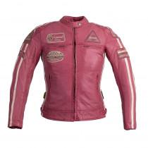 Dámská kožená moto bunda W-TEC Sheawen Lady Pink, růžová, XS