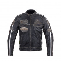 Pánská kožená moto bunda W-TEC Sheawen Vintage, černá, M