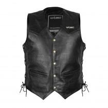 Kožená moto vesta W-TEC Rockridge, Black, M
