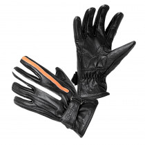 Moto rukavice W-TEC Classic, černá s oranžovým a bílým pruhem, S