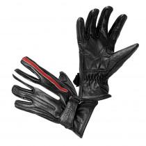 Moto rukavice W-TEC Classic, Jawa černá s červeným a bílým pruhem, S