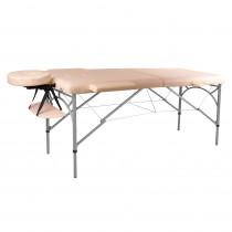 Masážní stůl inSPORTline Tamati 2-dílný hliníkový, krémově bílá