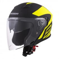 Moto přilba Cassida Jet Tech Corso (Barva černá matná/žlutá fluo, Velikost XS (53-54))